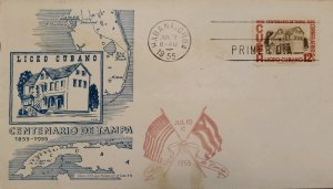 O) 1955 CUBA, CARIBBEAN, MUSEUM TAMPA, TAMPA´S INCORPORATION AS A TOWN, FDC XF