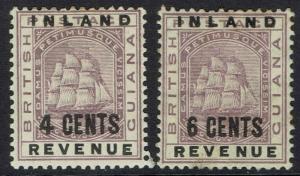 BRITISH GUIANA 1888 SHIP INLAND REVENUE OVERPRINT 4C AND 6C