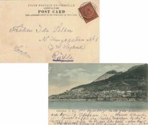 Gibraltar 1d KEVII 1904 Gibraltar, 26 PPC (Gibraltar Town from the New Mole) ...
