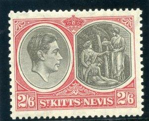 St Kitts-Nevis 1938 KGVI 2s6d black & scarlet MLH. SG 76. Sc 87a.