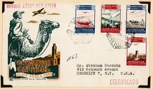 Spanish morocco air mail cover 1953