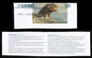 CANADA 1996 BIRDS TOPICAL CUT SQUARE 47c #U164 GOLDEN EAGLE + CANADAPOST LABEL