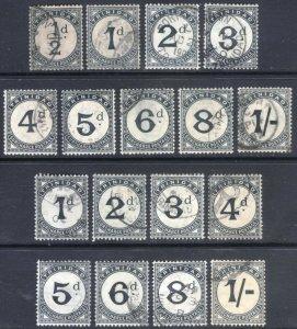 Trinidad 1885-1907 1/2d-1/- POSTDUE 2 SETS SGD1-D17 ScJ1-J17 VFU Cat£165($216)