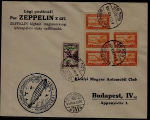 Hungary Zeppelin cover folded 27.3.31 Budapest