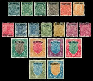 INDIA 1937 KGV Definitives overprint BURMA  SG #1-18  (Scott# 1-18) mint MNH/MLH