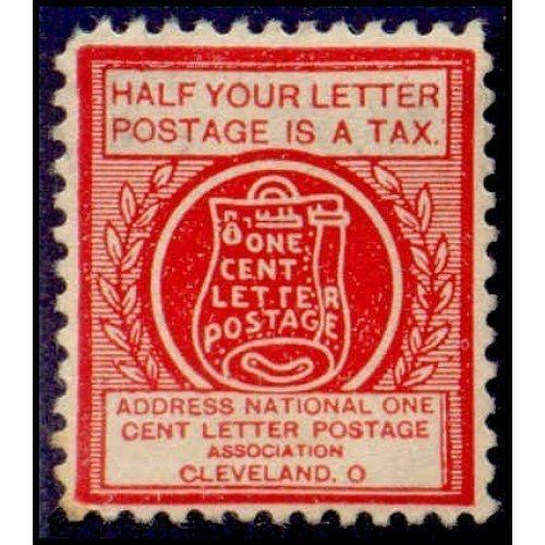 US - National One Cent Letter Postage Association Stamp - Type VIb (#6)