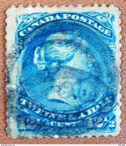 CANADA Sc 28 Queen Victoria (1868) 12-1/2c Used Blue F-VF Cat.Value $100.00