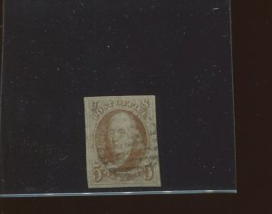Scott #1 Franklin Imperf Used Margin Stamp with PF Cert (Stock 1-203)