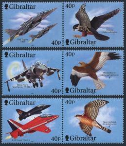 Gibraltar 2001,Fighter planes & Raptors  MNH set  # 887-889