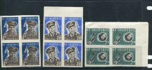 Albania 1963 Mi 731-3, Sc 657 note MNH Space  CV180 Block of 4 Imper  6589