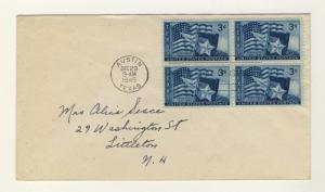 US - 1945 - Scott 938 FDC 3c Texas Statehood (No Cachet) Block of 4