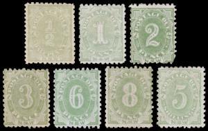 New South Wales Scott J1-J4, J6-J8, Perf.10x10 (1891-92) Mint H F-VF, CV $620 M