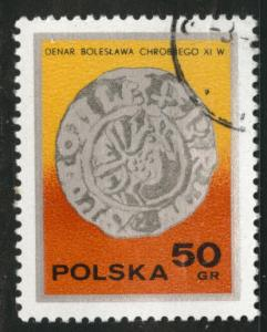 Poland Scott 2236 Used 1977  favor canceled Coin on stamp