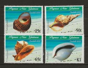 Papua New Guinea MNH 873-6 Sea Shells Marine Life 2000