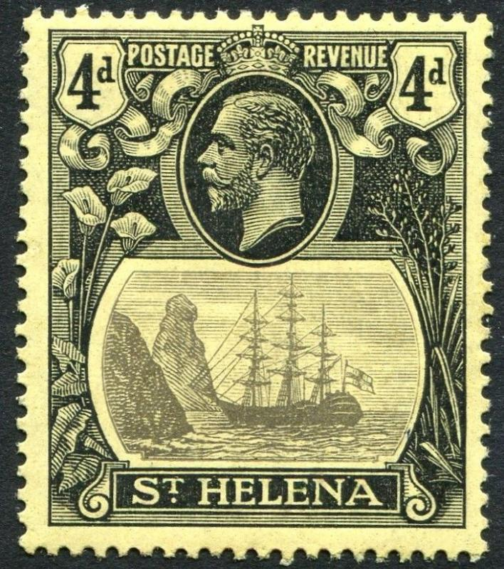 ST HELENA-1923 4d Grey & Black/Yellow Sg 92 LIGHTLY MOUNTED MINT V23464