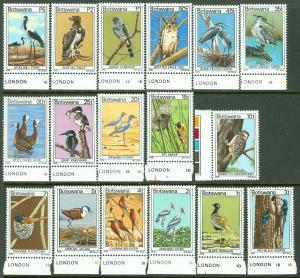EDW1949SELL : BOTSWANA 1978 Scott #198-214 Birds Very Fine, Mint NH. Catalog $49