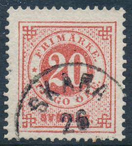 Sweden Scott 33/Facit 33a, 20ö carmine Ringtyp p.13, F+ Used