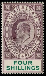 GIBRALTAR SG53, 4s dull purple & green, VLH MINT. Cat £140.