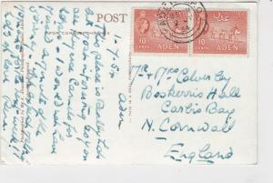 Aden 1954 Maalla Village, Aden Pic Stamps Card to Cornwall, England ref R 17457
