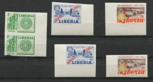 Liberia 1955  Imperf  Proofs 2 Sets  ( Pair  Singles) MNH.