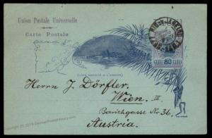 Brazil 1897 Postal Stationery Card 80 Reis to Austria 90616