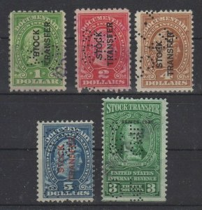 USA Stock Transfer Revenue Stamps Lot of 5