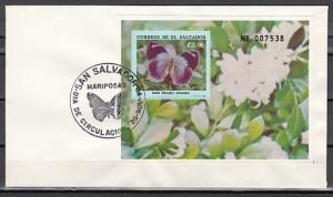 Salvador, Scott cat. 1262. Butterfly s/sheet on a First day cover.