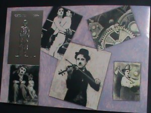 GUYANA-SILVER REPLICA- CHARLEY CHAPLIN-FUNNY ACTOR IMPERF: MNH S/S- VF-RARE
