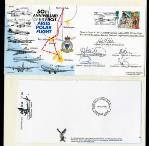 Great Britain Stamps Ares Polar Flight Anniversary Signed Pair of Covers