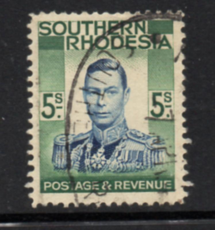 Southern Rhodesia Sc 84 1937 5/d George VI stamp used
