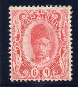 Zanzibar 1908 KEVII 6c rose-carmine (wmk upright) MLH. SG 227. Sc 101.