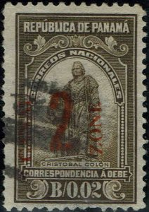 CANAL ZONE #J8 1915 2c RED CANAL ZONE OVERPRINT ON PANAMA POSTAGE DUE ISSUE-USED