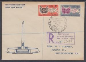 South Africa Sc 198-199 Registered FDC. 1954 Arms & Flags of State