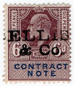 (I.B) Edward VII Revenue : Contract Note 6d (Ellis & Co pre-cancel)