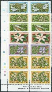 TOKELAU 1987 Flowers set in plate blocks of 4 MNH..........................41464