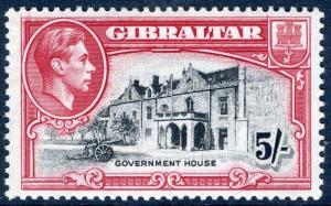 GIBRALTAR-1938-51 5/- Black & carmine Perf 13½ lightly mounted mint Sg 129a