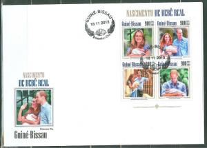 GUINEA BISSAU  2013  BIRTH OF PRINCE GEORGE WITH KATE & WILLIAM  SHEET FDC