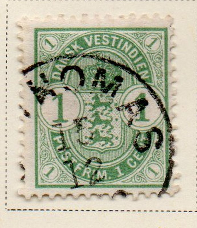Danish West Indies Sc 21 1900 1 c light green Coat of Arms stamp used