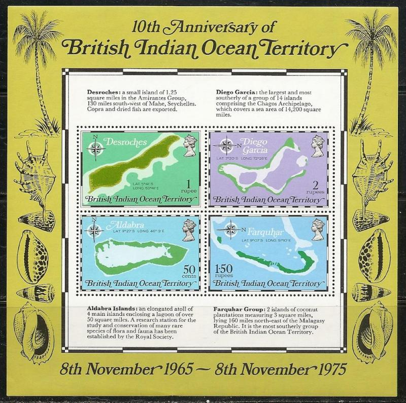 British Indian Ocean Territory 85a 1975 Maps s.s. MNH