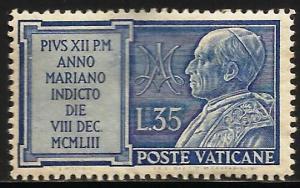 Vatican City 1954 Scott# 181 MH (toning, thin)