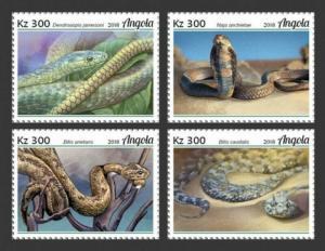 Angola - 2018 Snakes on Stamps - 4 Stamp Set - ANG18128a