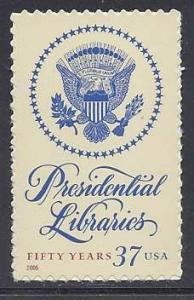 Catalog # 3930 Presidential Libraries 50 Years  Single 37 cent Stamp