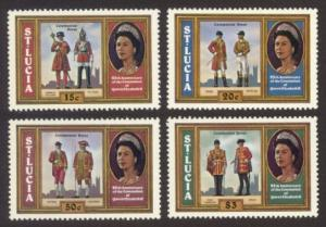 St. Lucia Sc# 438-41 MNH 25th Anniv. Coronation / Uniforms