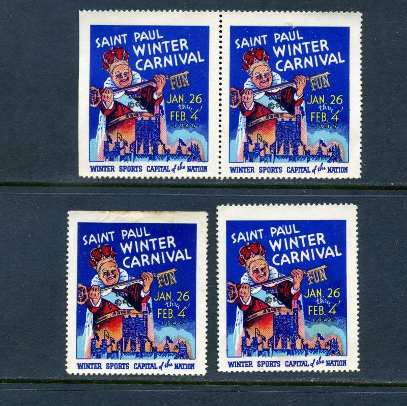 4 VINTAGE 1940 SAINT PAUL WINTER CARNIVAL POSTER STAMPS WINTER SPORTS CAPITAL MN