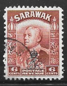 Sarawak 163: 6c Sir Charles Vyner Brooke overprint, used, F-VF