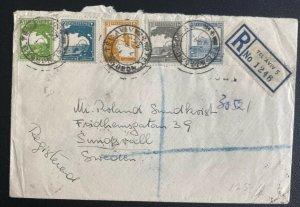 1944 Tel Aviv Palestine Registered Cover To Sweden