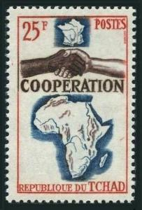 Chad 103,MNH.Michel 125. Cooperation issue,1966.Map of Africa.
