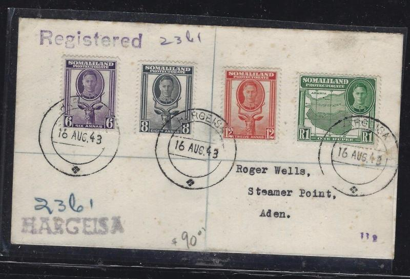 SOMALILAND COVER (PP0312B)   KGVI GOAT  6A+8A+12A+1R REG HARGEISA TO ADEN