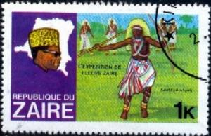 N'tombe Dancer, Pres. Mobutu, Mop of Zaire, Zaire stamp SC#902 used