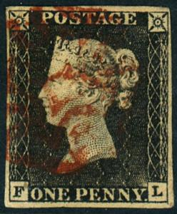 Great Britain #1 Penny Black Red Cancel